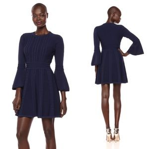NWT Eliza J Navy Cable Knit Fit and Flare Dress